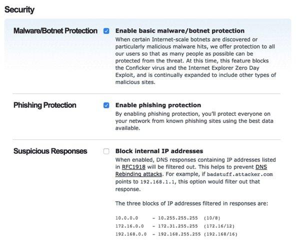 Website Filtering - Security Settings